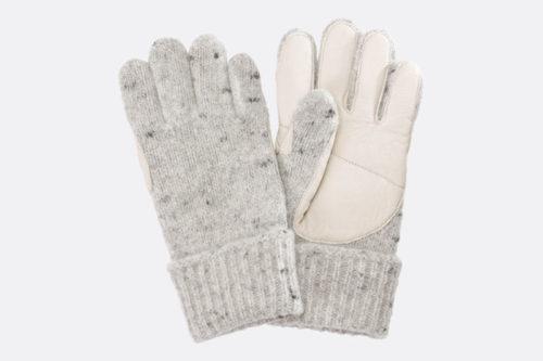 Fingerhandschuhe aus Schafschurwolle mit Lederbesatz